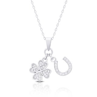 Dolce Giavonna Sterling Silver Cubic Zirconia Lucky Charm Necklace