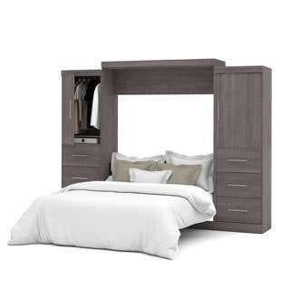"Nebula by Bestar Queen Wall bed with two 25"" storage units, doors and drawers"