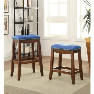 Delta Bar Stool Faux Leather and Oak Set of 2