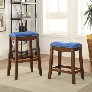 Delta Faux Leather and Oak Counter Height Stool (Set of 2)