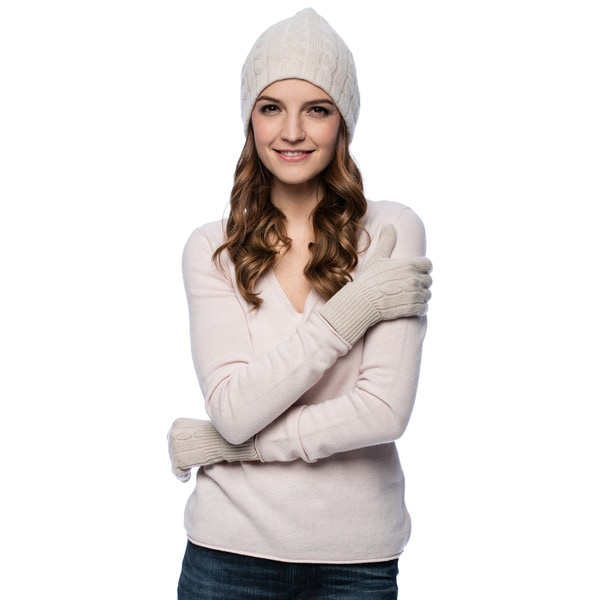 fd45c5557a52e Shop Enzo Mantovani Women s Cashmere Blend Hat and Glove Set - Free ...