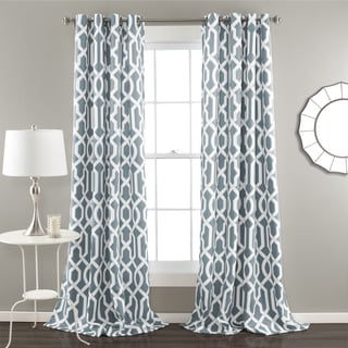 Lush Decor Edward Blackout Window Curtain Panel Pair 84-inch in Navy (As Is Item)