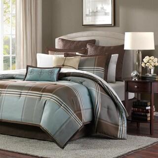 Madison Park Davenport Blue/ Brown 8-piece Queen Size Comforter Set (As Is Item)