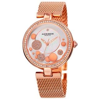 Akribos XXIV Women's Quartz Diamond Stainless Steel Mesh Rose-Tone Bracelet Watch