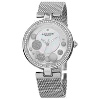 Akribos XXIV Women's Quartz Diamond Stainless Steel Mesh Silver-Tone Bracelet Watch - silver