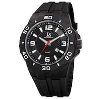 Joshua & Sons Men's Quartz Date Display Black Strap Watch