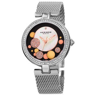 Akribos XXIV Women's Quartz Diamond Stainless Steel Mesh Silver-Tone Bracelet Watch with FREE Bangle - brown