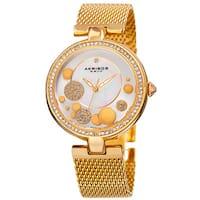 Akribos XXIV Women's Quartz Diamond Stainless Steel Mesh Gold-Tone Bracelet Watch - Gold
