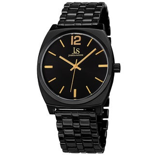 Joshua & Sons Men's Quartz Sunray Dial Black Bracelet Watch
