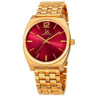 Joshua & Sons Men's Quartz Sunray Dial Red Bracelet Watch