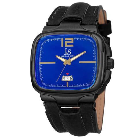Joshua & Sons Men's Quartz Date Leather Blue Strap Watch