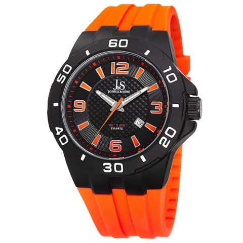 Joshua & Sons Men's Quartz Date Display Orange Strap Watch