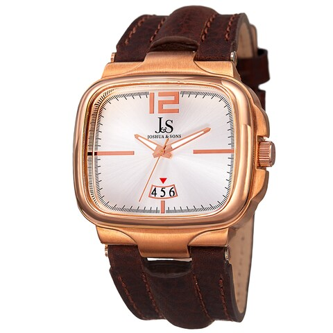 Joshua & Sons Men's Quartz Date Leather Rose-Tone Strap Watch - GOLD