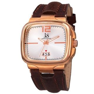 Joshua & Sons Men's Quartz Date Leather Rose-Tone Strap Watch