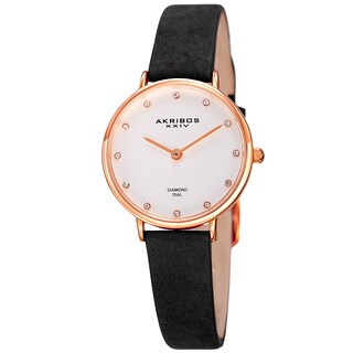 Akribos XXIV Women's Quartz Diamond Markers 'Crazy Horse' Leather Black Strap Watch with FREE GIFT