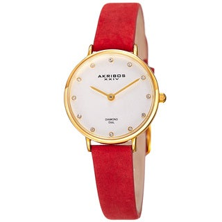 Akribos XXIV Women's Quartz Diamond Markers 'Crazy Horse' Leather Strap Watch with FREE Bangle - RED