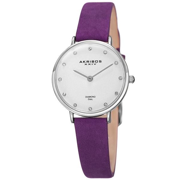 Akribos XXIV Women's Quartz Diamond Markers 'Crazy Horse' Leather Purple Strap Watch