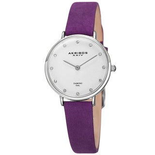 Akribos XXIV Women's Quartz Diamond Markers 'Crazy Horse' Leather Purple Strap Watch with FREE Bangle