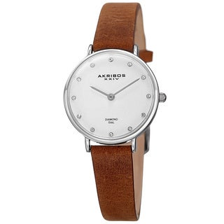 Akribos XXIV Women's Quartz Diamond Markers 'Crazy Horse' Leather Silver-Tone Strap Watch with FREE GIFT - Brown
