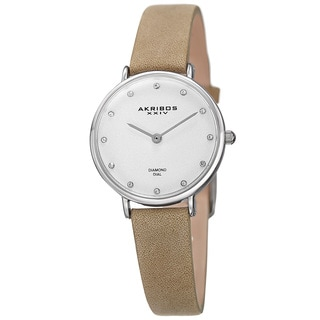 Akribos XXIV Women's Quartz Diamond Markers 'Crazy Horse' Leather White Strap Watch - Grey