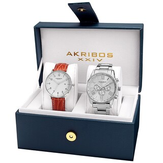 Akribos XXIV Men's Swiss Quartz Leather Strap and Stainless Steel Bracelet Watch Box Set of 2