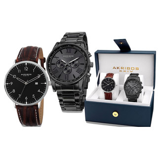 Akribos XXIV Men's Swiss Quartz Multifunction Black Strap/Bracelet Watch Set