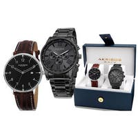 Akribos XXIV Men's Swiss Quartz Leather Strap and Stainless Steel Bracelet Watch Box (Set of 2)