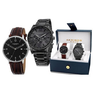 Akribos XXIV Men's Swiss Quartz Brown Leather and All Black Out Watch Box Set of 2