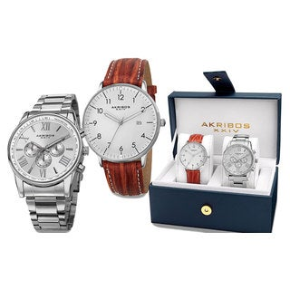 Akribos XXIV Men's Swiss Quartz Multifunction Silver-Tone Strap/Bracelet Watch Set