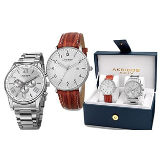 Akribos XXIV Men's Swiss Quartz Multifunction Silver-Tone Strap/Bracelet Watch Set with Gift Box - Silver