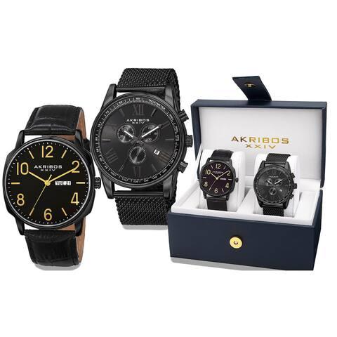 Akribos XXIV Men's Quartz Multifunction Black Strap/Bracelet Watch Set