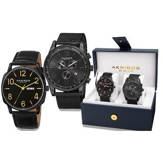 Akribos XXIV Men's Quartz Multifunction Black Strap/Bracelet Watch Set