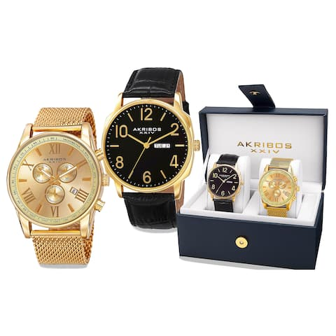 Akribos XXIV Men's Quartz Multifunction Gold-Tone Strap/Bracelet Watch Set - Gold