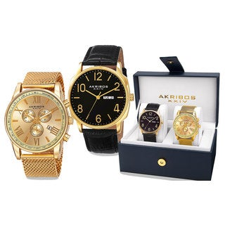 Akribos XXIV Men's Quartz Multifunction Gold-Tone Strap/Bracelet Watch Set