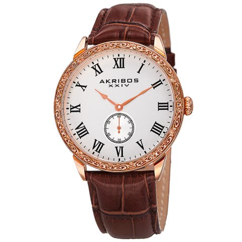 Akribos XXIV Men's Roman Numerals Quartz Leather Rose-Tone Strap Watch - brown