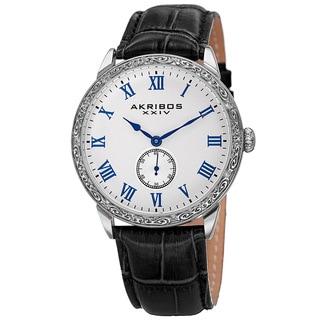 Akribos XXIV Men's Roman Numerals Quartz Leather Silver-Tone Strap Watch