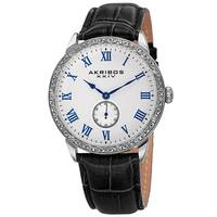 Akribos XXIV Men's Roman Numerals Quartz Leather Silver-Tone Strap Watch - Black