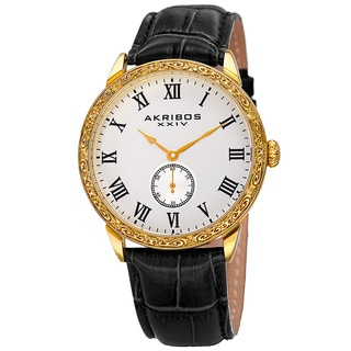 Akribos XXIV Men's Roman Numerals Quartz Leather Gold-Tone Strap Watch