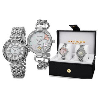 Akribos XXIV Women's Diamond Quartz Silver-Tone Bracelet Watch - silver