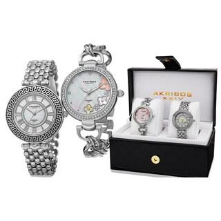 Akribos XXIV Women's Diamond Quartz Silver-Tone Bracelet Watch with FREE GIFT - Silver