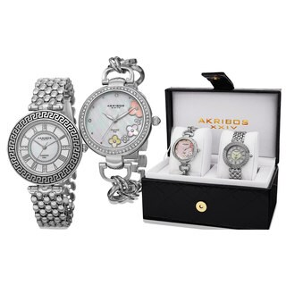 Akribos XXIV Women's Diamond Quartz Silver-Tone Bracelet Watch - silver