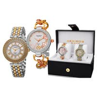 Akribos XXIV Women's Diamond Quartz Two-Tone Bracelet Watch with FREE Bangle - GOLD