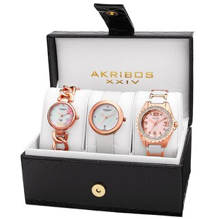 Akribos XXIV Women's Quartz Diamonds Rose-Tone Bracelet/Strap Watches Set with FREE Bangle - PInk