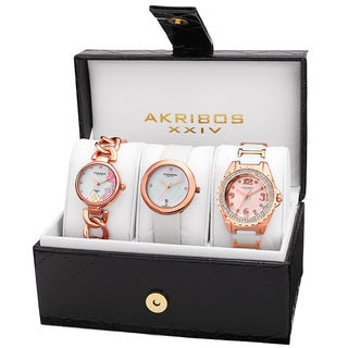 Akribos XXIV Women's Quartz Diamonds Rose-Tone Bracelet/Strap Watches Set - Pink