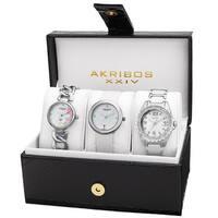 Akribos XXIV Women's Quartz Diamonds Silver-Tone Bracelet/ Strap Watches Set - silver