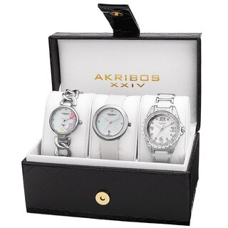 Akribos XXIV Women's Quartz Diamonds Silver-Tone Bracelet/ Strap Watches Set with FREE Bangle - silver