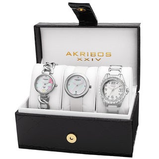 Akribos XXIV Women's Quartz Diamonds Silver-Tone Bracelet/ Strap Watches Set - silver