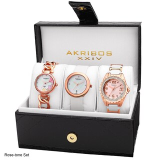 Akribos XXIV Women's 3-piece Watches Gift Set with Diamond Accents (2 options available)