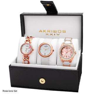 Akribos XXIV Women's Quartz Diamonds Bracelet/Gold-Tone Strap Watches Set - GOLD (Option: Rose-tone Set)