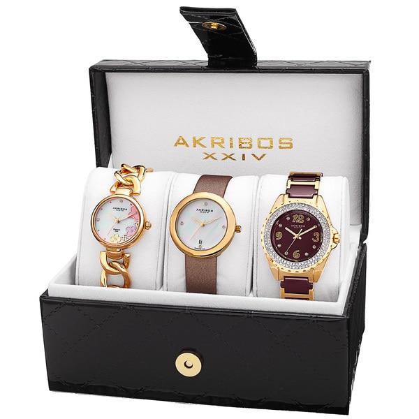 Akribos XXIV Women's Quartz Diamonds Bracelet/Gold-Tone Strap Watches Set with FREE GIFT - Gold
